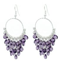 Purple Crystal Chandelier Hoop Earrings - Lightweight